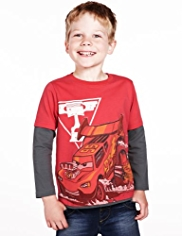 Pure Cotton Disney Cars Mock Layered T-Shirt