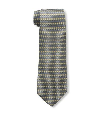 Hermès Men's Pre-Owned Patterned Silk Tie, Blue