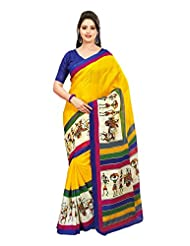 Samskruti Sarees Women's Exclusive Worli Printed Yellow Saree(SWDY-YELLOW)