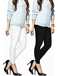 R And R Fashion Women's Cotton Churidar Leggings - Pack Of 2 ( Black And White)