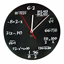 Matte Black Powder Coated Metal Mathematics Blackboard Pop Quiz Scientific Clock - Teaching Classroom Math Wall Clock
