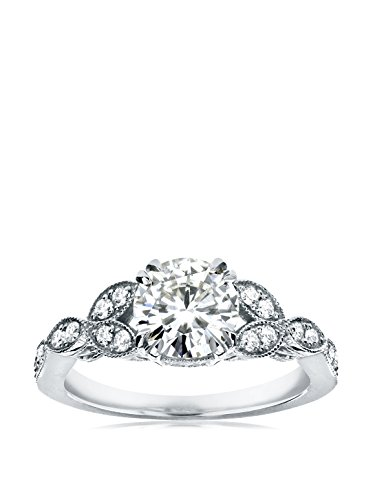 Kobelli 14K White Gold Round Moissanite & Diamond Antique Engagement Ring