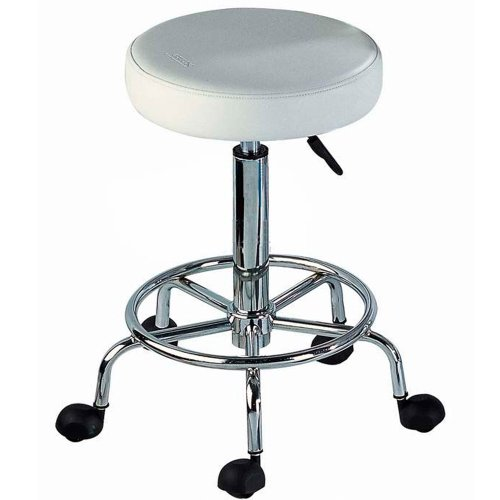 Multi-purpose White Hydraulic Adjustable Rolling Stool w/ Foot Rest for Massage Tables, Examination Tables, Office, Medical and Home Use