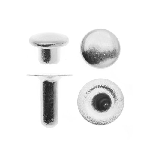 Drucknieten-Set mit rundem Oberteil mit Silberbeschichtung 6mm - Packung mit 10 Stück