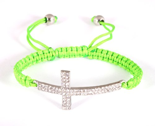 Green Lace Style Iced Out Cross Bracelet with Beaded Disco Balls Macrame Shamballah