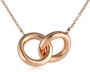 """18k Rose Gold over Sterling Silver Interlocking Ring Chain Pendant Necklace, 18"""""""