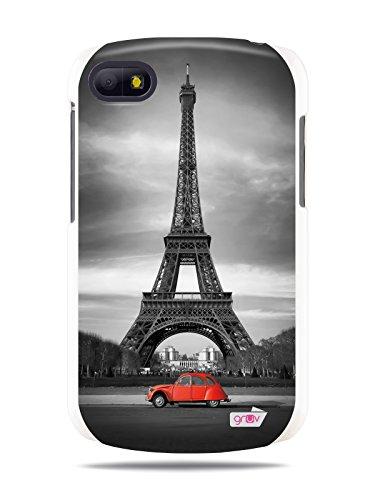 "Grüv Premium Case - ""Paris Eiffel Tower Citroën 2Cv Retro Frace B&W"" Design - Best Quality Designer Print On White Hard Cover - For Blackberry Q10"