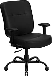 Flash Furniture WL-735SYG-BK-LEA-A-GG Hercules Series 400-Pound Big/Tall Black Leather Office Chair with Arms/Extra Wide Seat