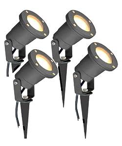 Long Life Lamp Company 4 x GU10 Outdoor Garden Spike Ground Mount or Watt Light IP65, Matt Black