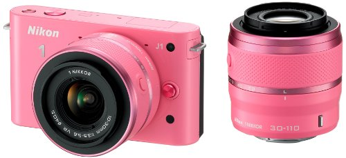 Nikon 1 J1 Compact System Camera - Pink (10-30mm and 30-110mm Twin Kit, 10MP) 3 inch LCD Screen