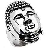 Stunning 316L Stainless Steel Meditating Buddah Chunky Ring Size U