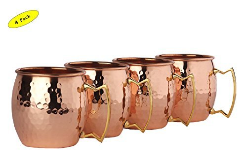 A29 Moscow Mule 100 % Solid Pure Copper Unlined Mug /Cup (16-Ounce/Set of 4, Hammered) with BONUS Shot Glass and Free Recipe Booklet by A29