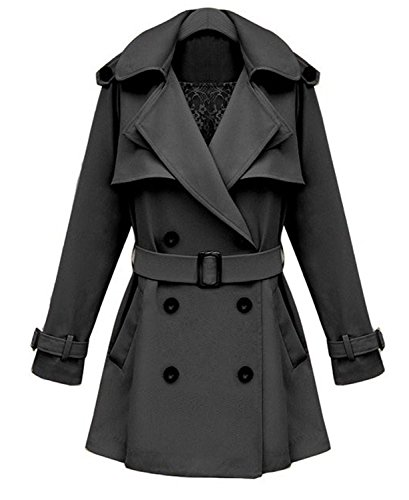 iLoveSIA Womens Coats Double Breasted Trench Coat Military Style Black Size 8