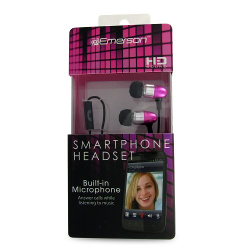 Emerson Em887Pk Stereo Headset For Iphone, Blackberry And All 3.5Mm Headset Jacks - Retail Packaging - Pink
