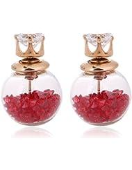 Meenaz Pink Crystal American Diamond Stud Earrings For Women