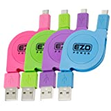 EZOPower 4-Pack 3ft High Speed Retractable Sync & Charge Micro-USB Data Cable for Samsung Galaxy Alpha, Galaxy S5/ S5 Active/ S5 mini, Galaxy S4/ S4 Active/ S4 Zoom/ S4 mini, Galaxy Express 2, Galaxy Note 4/ Note 3/ Note 2 ; HTC LG Motorola Nokia Cellpho