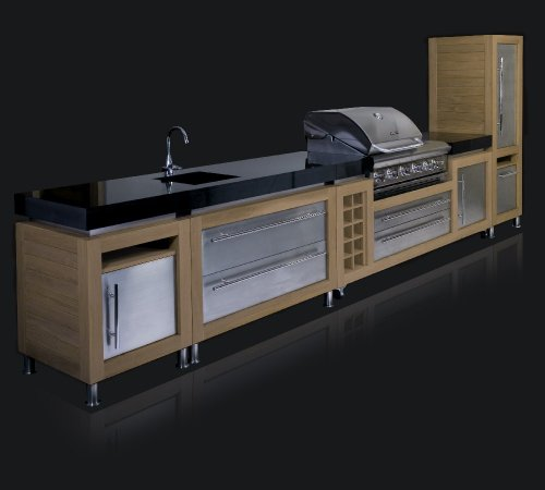 Ingarden Outdoor Kitchen. Oak ,Stainless Steel & Granite Outdoor Kitchen Unit Run With Bbq & Sink