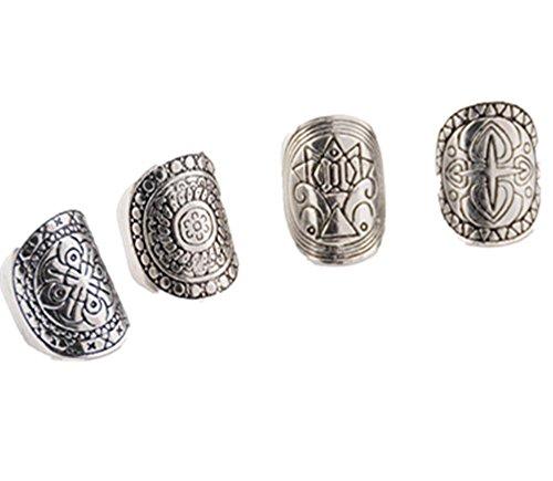 DDLBiz® Gioielli Anello da Donna, Vintage Fashion argento etnico dell'elefante comune Knuckle Nail Ring Set di 4 anelli