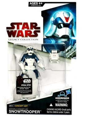 Star Wars Year 2009 Legacy Collection Droid Factory Series 4 Inch Tall Action Figure - BD48 Episode V Concept Art SNOWTROOPER with Blaster Pistol, Backpack and Droid BHK-50's Right Leg - 1