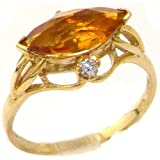 Luxury Solid Yellow Gold Large Marquise Citrine & Diamond Ring - Size U - Finger Sizes J to Z Available