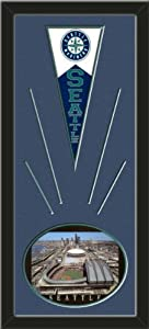 Seattle Mariners Wool Felt Mini Pennant & Safeco Field Photo - Framed With Team... by Art and More, Davenport, IA