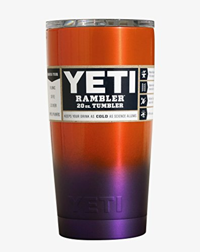YETI Coolers Custom Stainless Steel 20 Ounce Rambler Tumbler Cup Mug with Lid (20oz) (20 oz) (Orange Purple Clemson Ombre Fade)