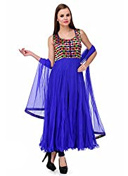 Zbuy Blue Brocade and Net Embroidered Unstitched Salwar Suit Dress Material