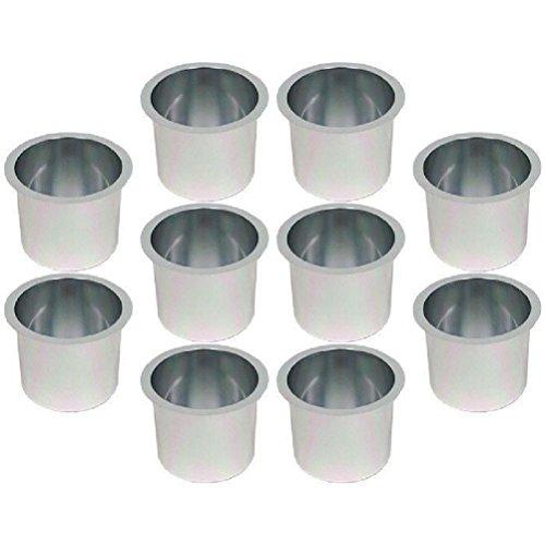 Jumbo Aluminum Poker Table Cup Holders - Silver - Set of 10