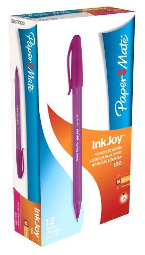 paper-mate-inkjoy-100-kugelschreiber-mit-kappe-medium-12er-pack-magenta
