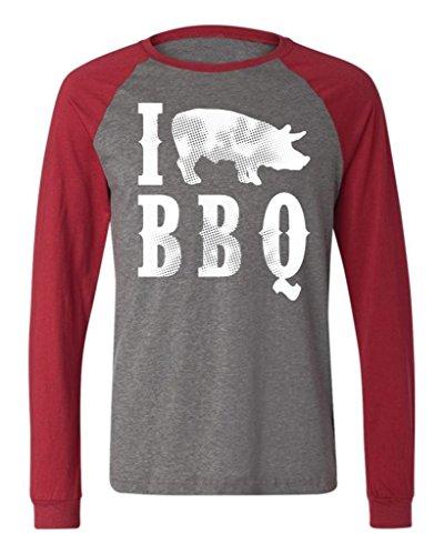 I Love BBQ Men'S Long Sleeve Baseball T-Shirt, Funny Bar-B-Que I Pig BBQ Design Design Baseball Shirt (Charcoal/Red, X-Large)