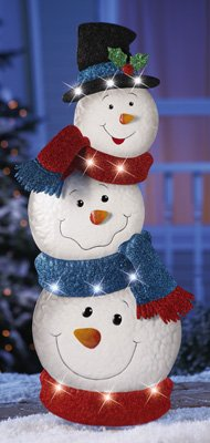 """Knlstore 34""""H Led Lighted Stacked Snowman Jack Frost Metal Tin Snowmen W/ Hat Blue Red Scarf White Lights Christmas Holiday Garden Stake Outdoor Yard Snow Man Decoration"""