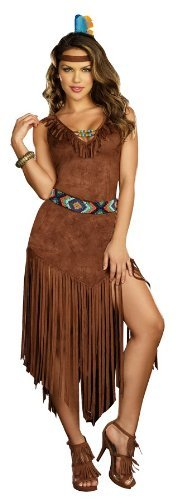 Sexy Fringed Indian Woman Costume Dress and Headpiece