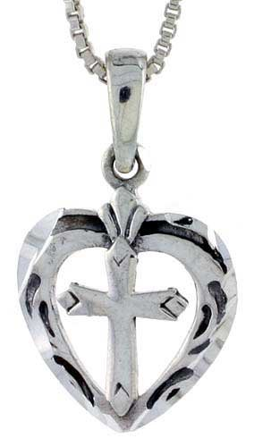 Sterling Silver Heart Pendant with Cross, 3/4 inch tall
