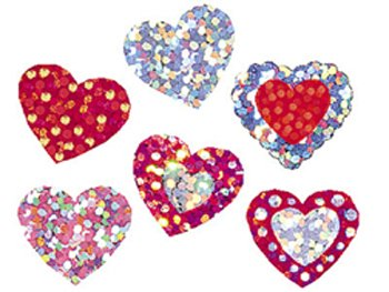 21 Pack TREND ENTERPRISES INC. SPARKLE STICKERS SHIMMERING HEARTS