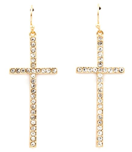 PoParazzi Basketball Wives Hip Hop Style Clear Crystal Embellished Cross 2