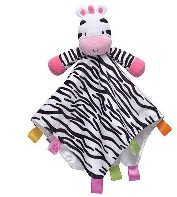 Taggies Zebra Plush Security Blanket With Rattle front-655680