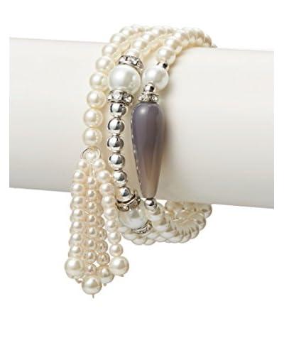 Jardin 3-Piece Chalcedony, Swarovski Crystal & Faux Pearl Tassel Bracelet Set