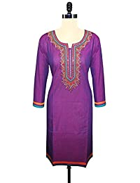 Unnati Silks Women Pracheen Kala Purple Cotton Kurta With Embroidery