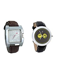 Gledati Men's White Dial & Foster's Women's Grey Dial Analog Watch Combo_ADCOMB0002278
