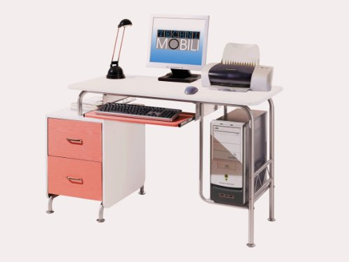 Buy Low Price Comfortable Mad Tech 30x23x52 Pink & White Mdf Panel & Steel Frame Computer Office Desk Table (B004W0MDWW)