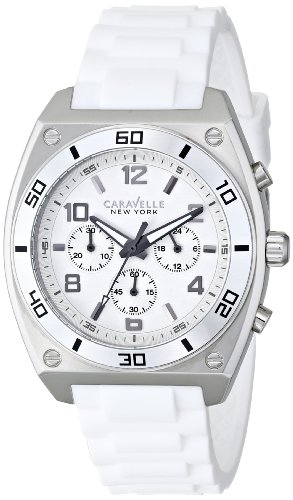 Caravelle by Bulova Men's Clark 44mm White Rubber Band Steel Case Quartz Analog Watch 43A126