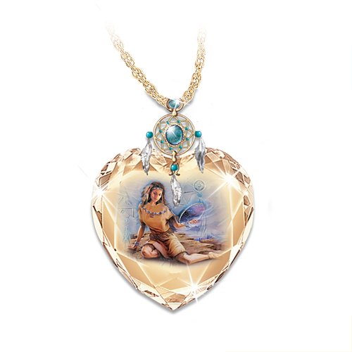 The Sacred Dreams Crystal Heart Pendant Necklace by The Bradford Exchange