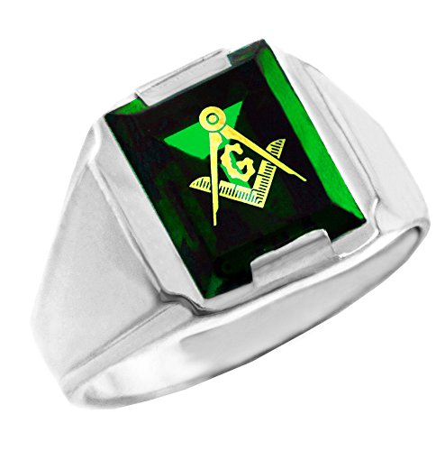 925 Sterling Silver Freemason Green Stone Square and Compass Masonic Ring (8) from Claddagh Gold