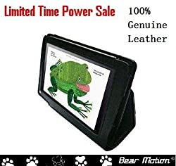 Bear Motion ® Premium 100% Genuine Leather Case Cover for Kindle Fire 7 inch Tablet - Black (Not Compatible with Kindle Fire HD)