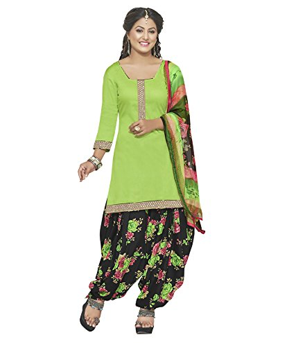 Kvsfab Green Glace Cotton Printed Work Patiala Suits