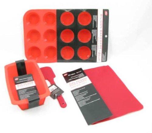 Rojo de silicio Bakeware - molde - molde - espátula y estera de la hornada