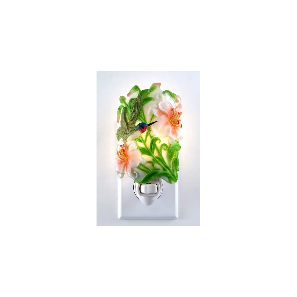 Night Light Humingbird with Flowers Night Light,This is High Quality Unique Design, Gorgeous,Elegant and Beautiful for Both Functional & Decoration,Product Comes w/Light Bulb ,Safety with UL Approved, Easy to Turn it On Off.