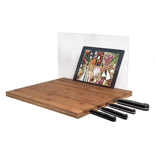 CTA iPad Air/iPad 3rd Gen/iPad 2 & Knife Storage Bamboo Cutting Board - Retail Packaging - Brown (Discount Kitchen Knives compare prices)