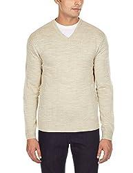 Flying Machine Men's V-Neck Acrylic Sweater (FMSW0207_Ecru_XL)