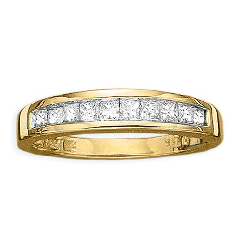 Gold Plated 1 ct Square Shaped Cubic Zirconia Wedding Band